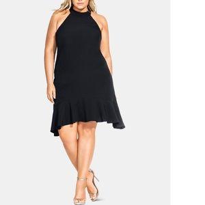 City Chic Plus Size Ruffle-Hem Halter Dress 20W